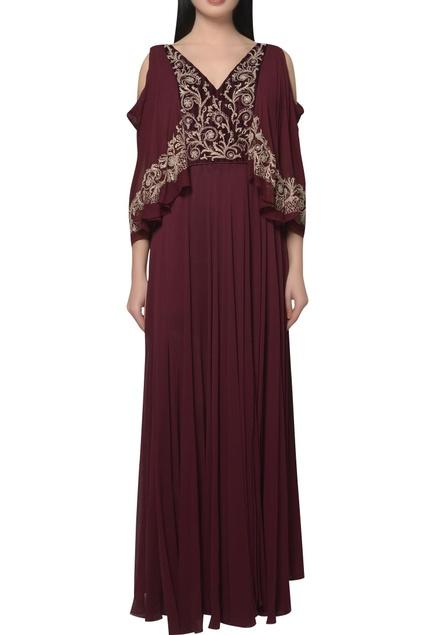 Cold shoulder Embroidered draped dress