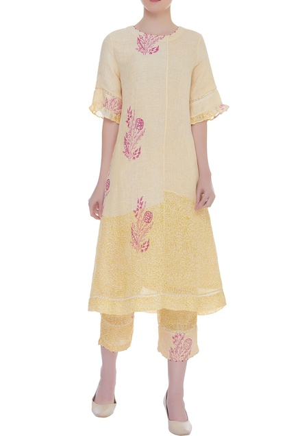 Block printed embroidered kurta