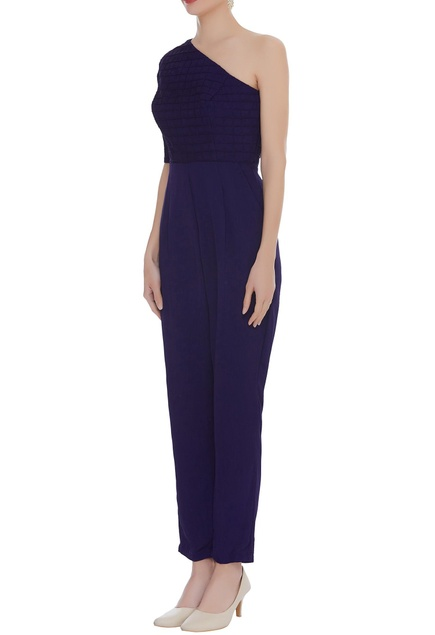 One shoulder textured jumpsuit
