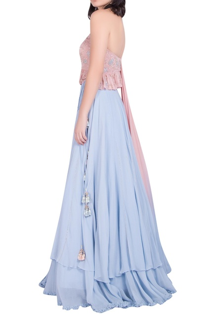 One Shoulder Blouse with attached drape & Lehenga