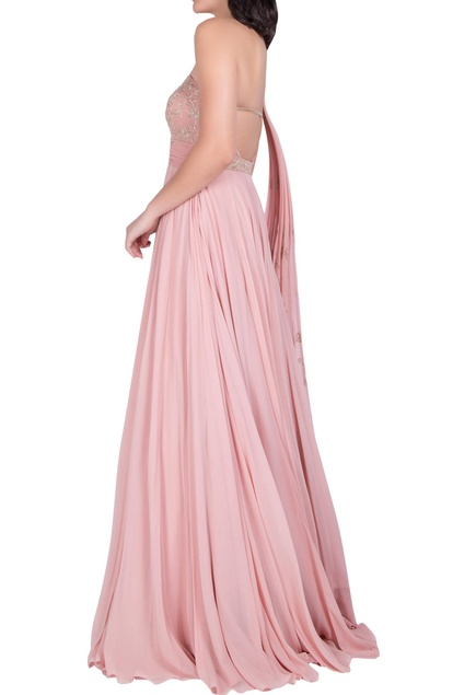 One Shoulder Gown With Embellished Drape