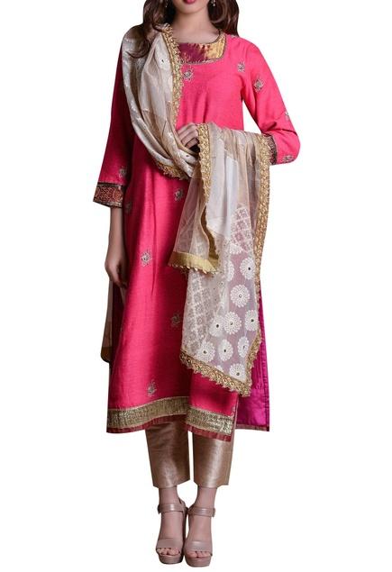 Straight kurta with pants & patchwork dupatta