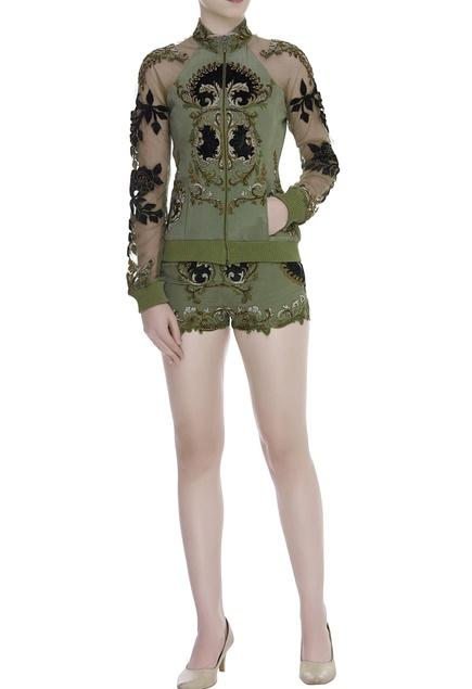 Embellished bomber jacket with shorts