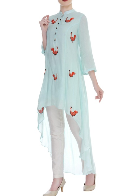 Asymmetric Duck Embroidered Tunic