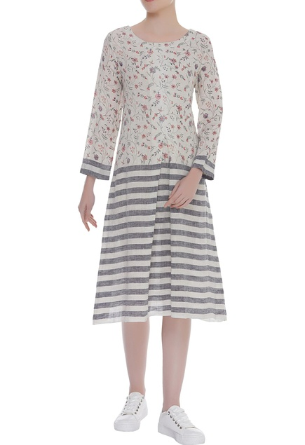 Block print stripe tunic with gather detail