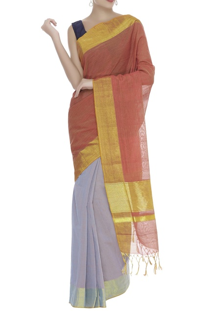 Handloom Cotton Gold border sari with unstitched blouse