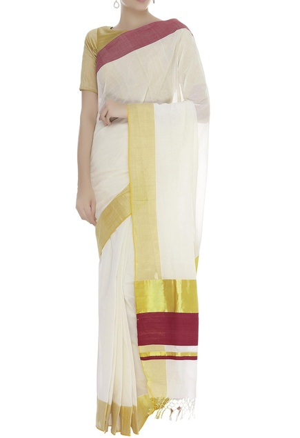 Handloom cotton sari with unstitched blouse