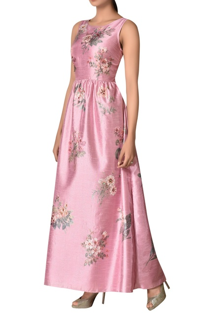 Embroidered floral maxi dress