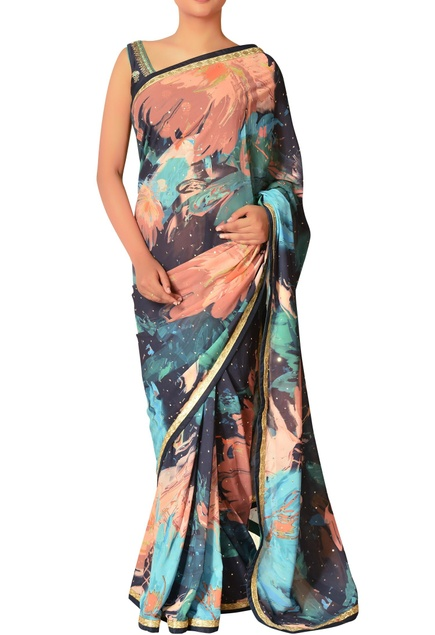 Floral print sari with unstitched blouse