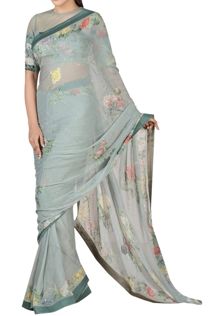 Floral print sari with blouse