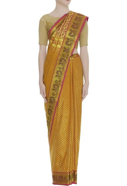 Handwoven kanjeevaram sari &  unstitched blouse