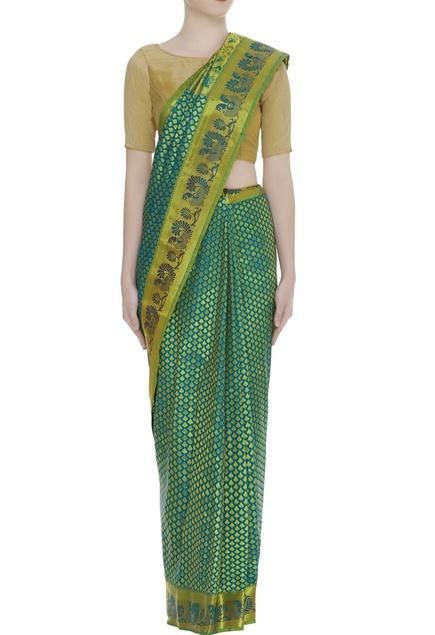 Kanjivaram sari with unstitched blouse