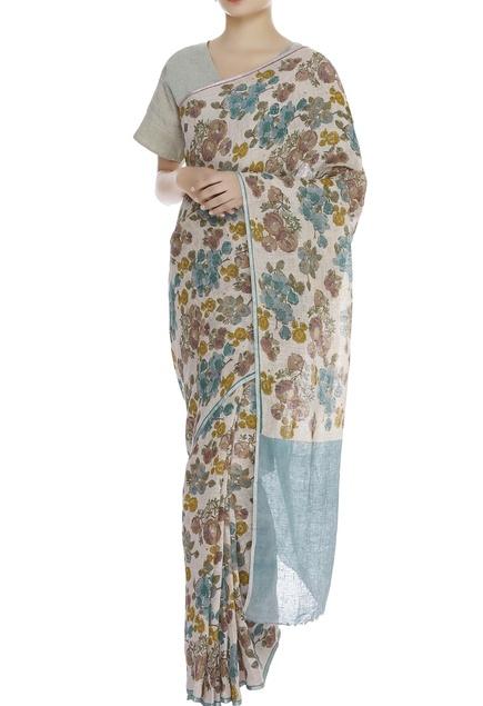Autumn bloom block print sari