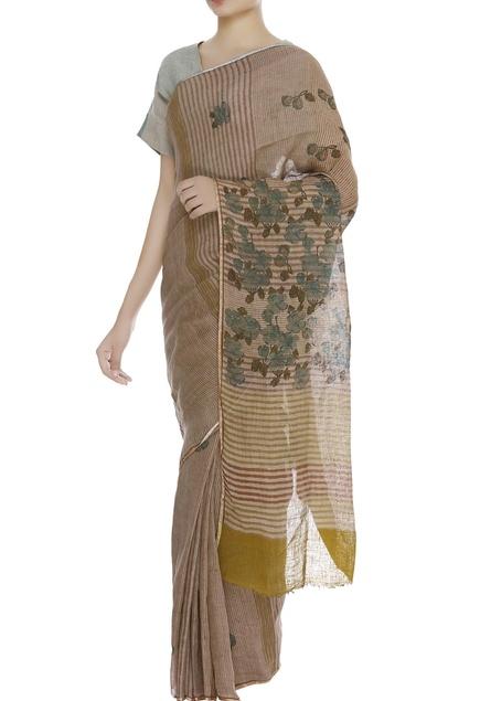 Floral work & striped sari