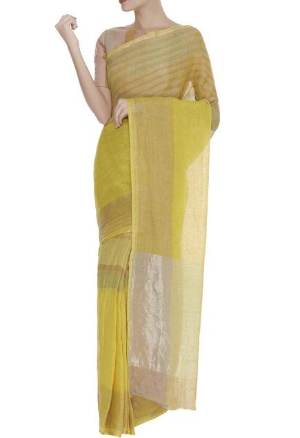 Zari Embroidered Striped Saree