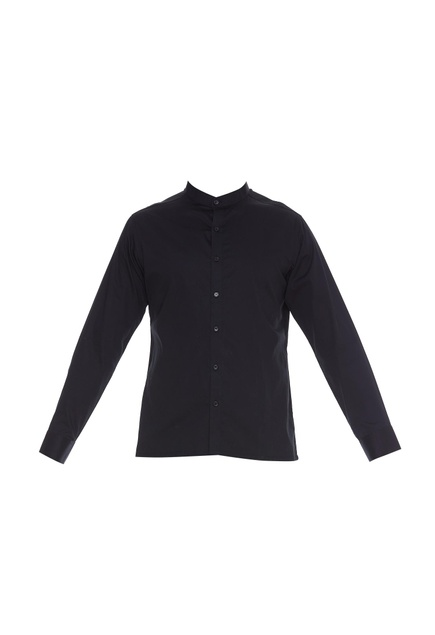 Full sleeves band collar shirt