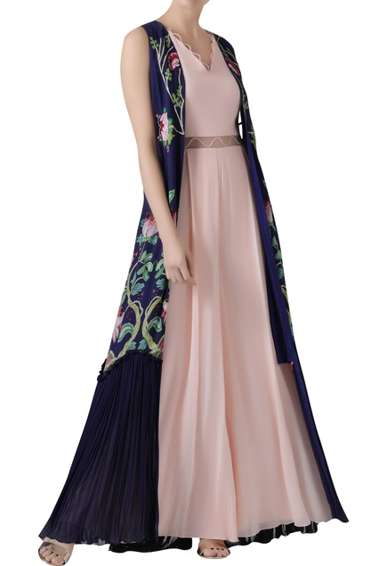 Box Pleated Jumpsuit with Cape