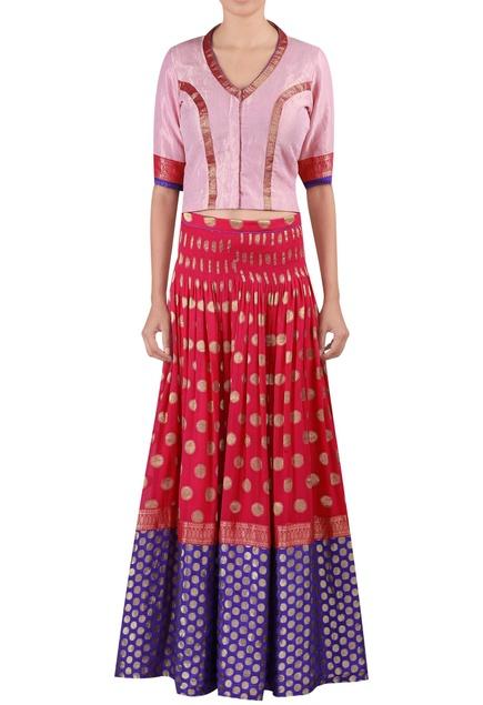 Woven work blouse with lehenga & dupatta