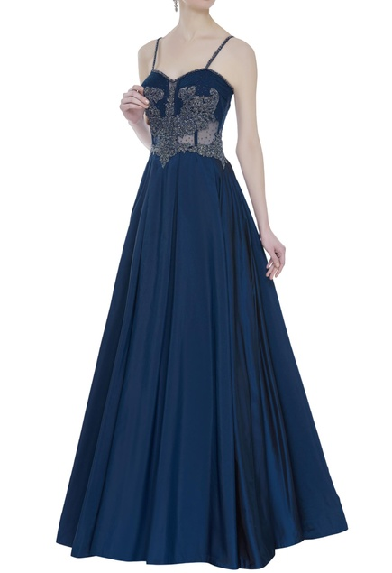 Embroidered corset gown
