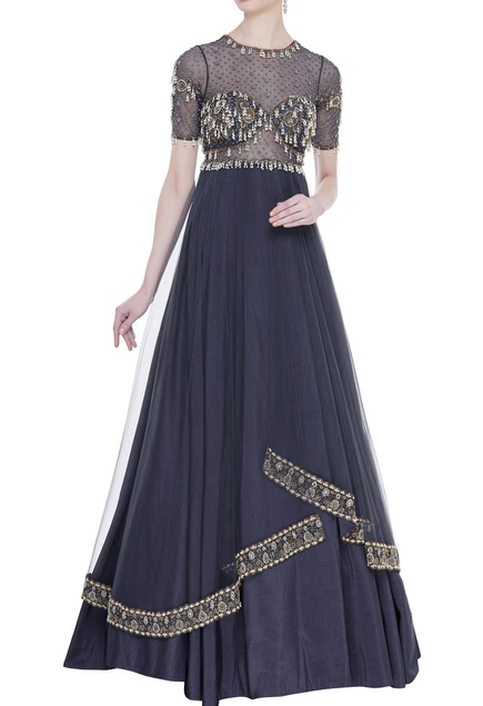 Embroidered double layered pleated gown