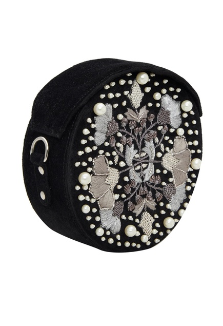 Embroidered round crossbody bag