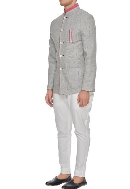 Grey & pink khadi cotton chequered bandhgala