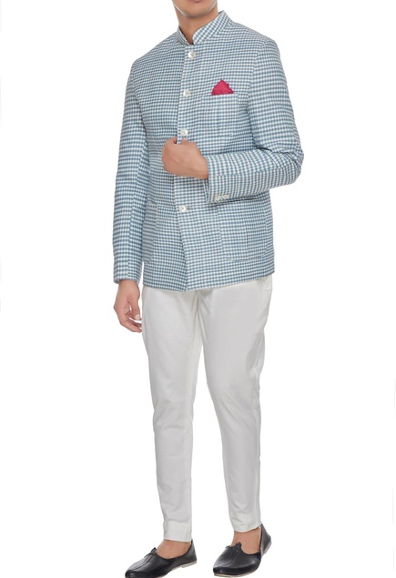 White & blue khadi cotton chequered bandhgala
