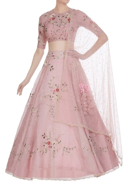 Pearl & floral thread embroidered festive lehenga set