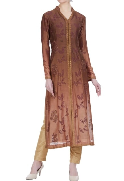 Chanderi silk block printed jacket-style kurta