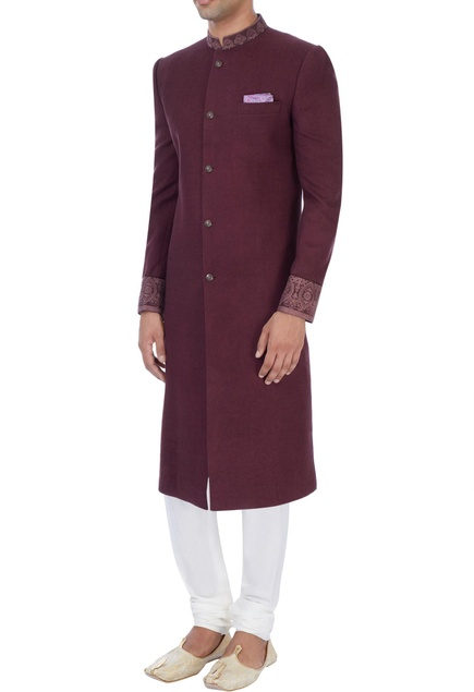 Wine embroidered sherwani