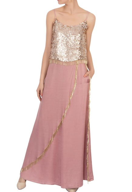 Rose gold sequin top & pants with dupatta