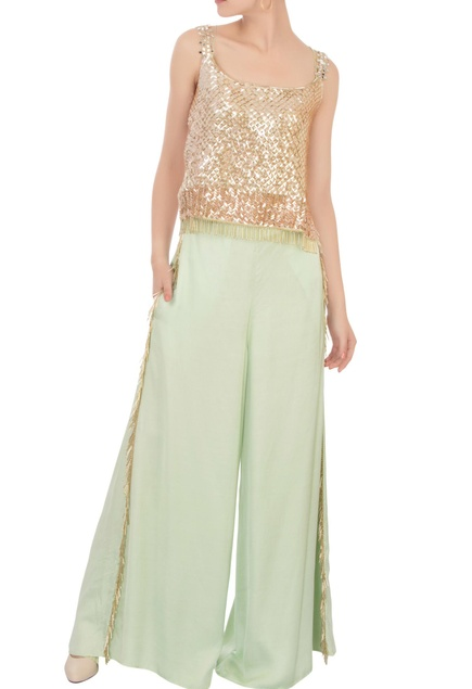 Green embroidered top & palazzo pants
