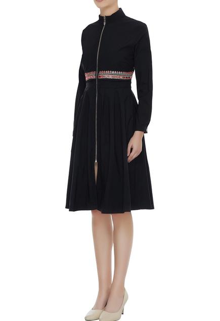 Black embroidered zippered skater dress