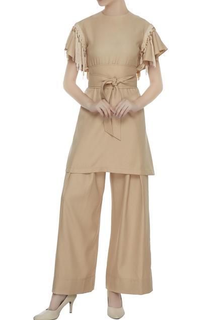 Beige twill fringes tunic with palazzos & belt