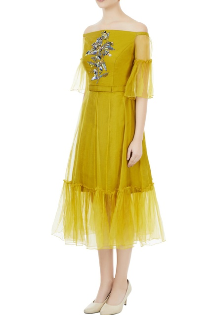 Sulphur yellow tafetta & organza hand crafted colorful sequin & bead work off-shoulder dress