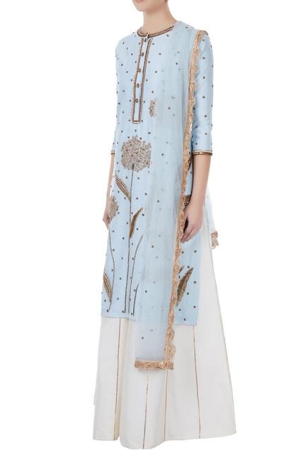 Ice blue & white chanderi, tafetta & net hand crafted nakshi & sequin kurta with palazzos & dupatta
