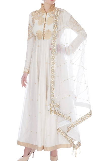 Ivory chanderi handloom embroidered anarkali with dupatta