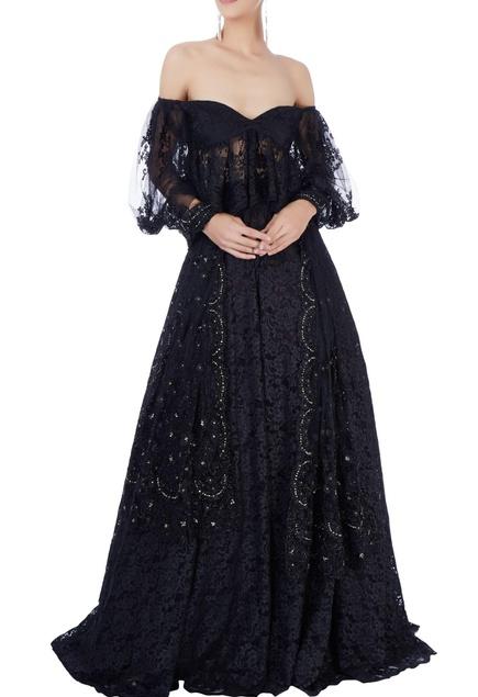 Black lace lehenga set
