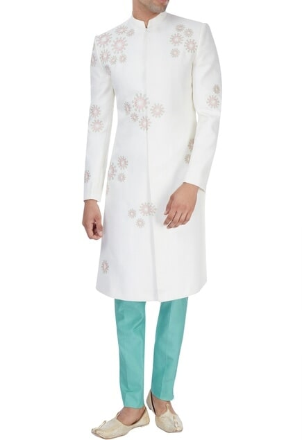 White & mint green hand embroidered sherwani set