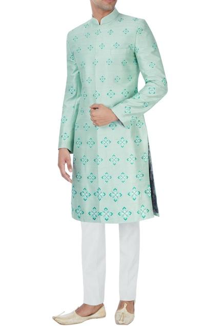 Mint green embroidered sherwani set