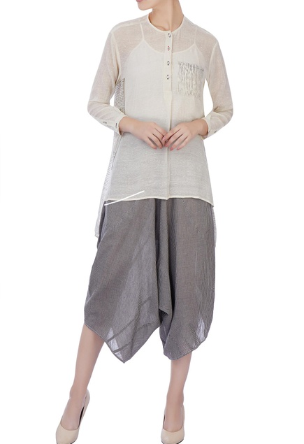 Ecru organic handwoven cotton blouse and dhoti pants