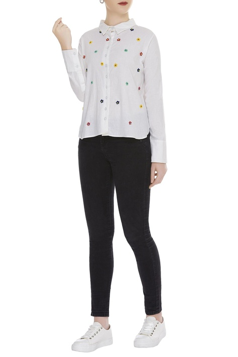 Flower Bead Embroidered Shirt