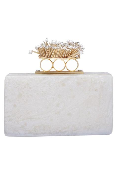 Pearl & cutdana embellished clutch Cum Sling bag