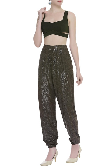 Woven Sequin Joggers