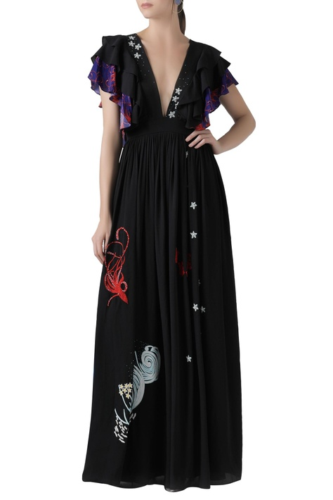 Crewel and hand embroidered flared gown