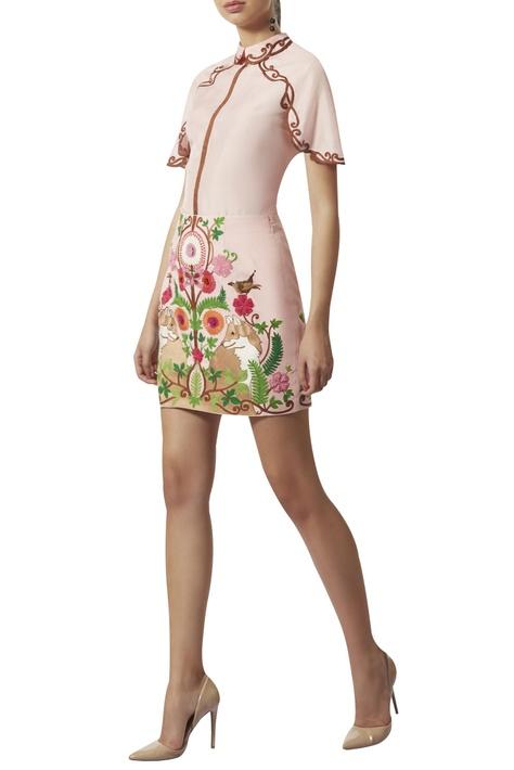 Crewel embroidered short skirt