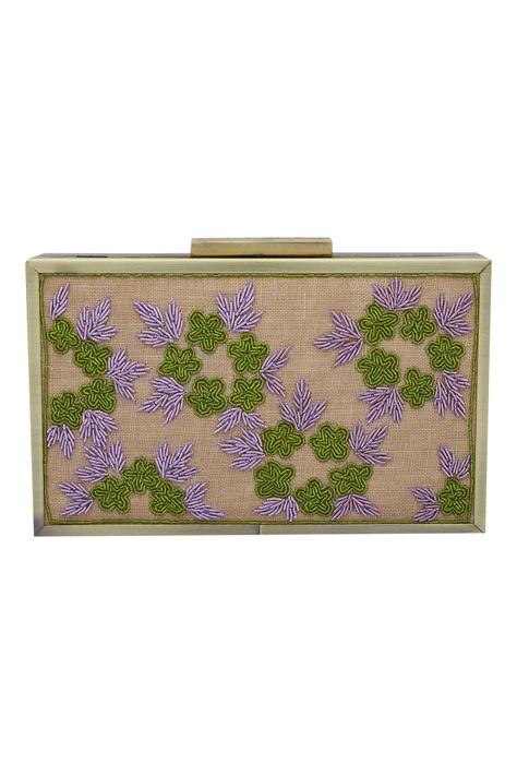 Flower Zardozi Embellished Clutch Cum Sling bag