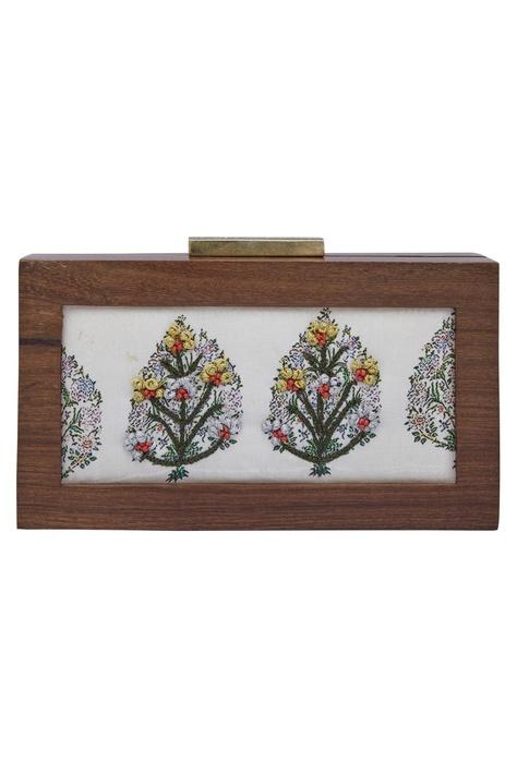 Floral Butta Embroidered Clutch Cum Sling bag