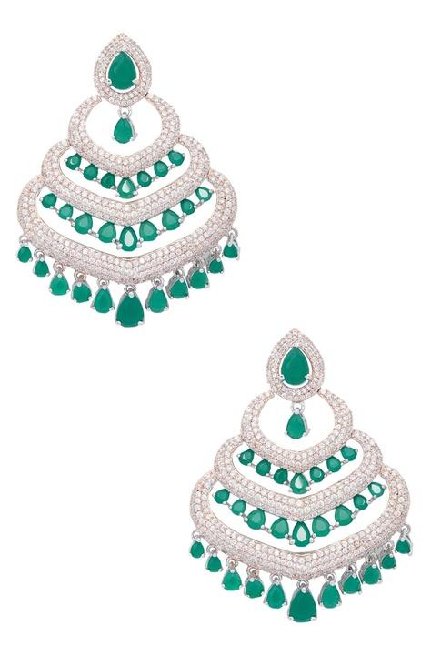 Stone studded bead dangler earrings