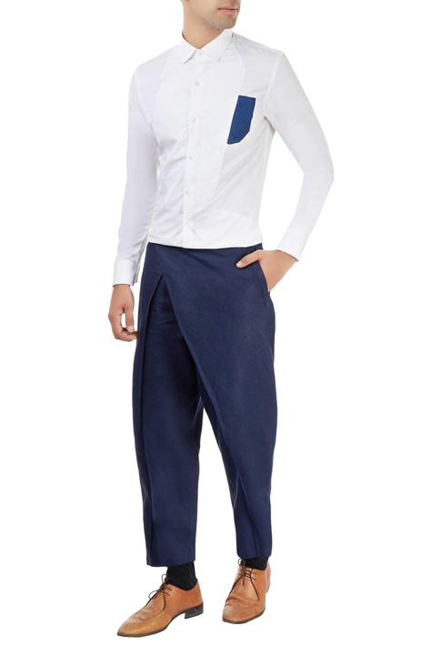 Navy blue trouser with overlap detail